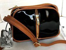 VALENTINA Italian Leather Crossbody Purse/Patent Black/Triple Zip/Handbag/NWT