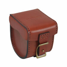 Tourbon Fly Fishing Reel Cover Carrying Box Case Small Genuine Leather Vintage