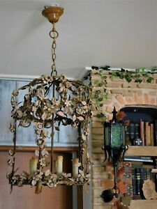 ANTIQUE VINTAGE CHANDELIER CAGE HANDMADE METAL WORK ART NOUVEAU FLOWER & LEAVES