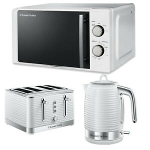 Kettle Toaster Microwave Set White Russell Cheap Deal Kitchen Sale RHM2060 Sale