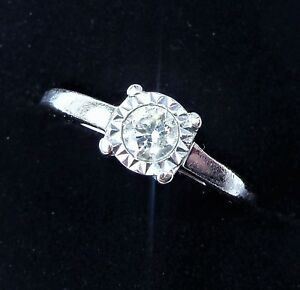 9ct White Gold 0.20ct Solitaire Diamond Ring, Size K