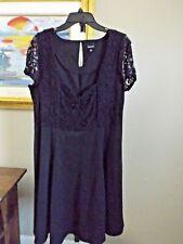 TORRID Black Stretch Lace Overlay Bodice SKATER A Line Stretch Cap Slv Dress 1