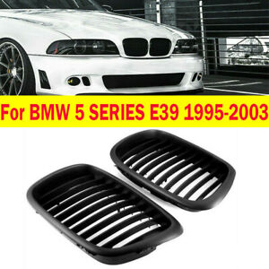 FRONT BUMPER MATTE BLACK KIDNEY GRILLE GRILL for BMW 5 SERIES E39 1995-2003 NEW