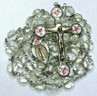 """† VINTAGE STERLING FLOWERED GUILLOCHE ENAMEL CLEAR GLASS ROSARY NECKLACE 30"""" †"""