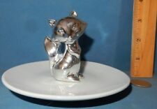 Jewelry Pin Dish animal Euc Silver Metal Fox On Ceramic Plate