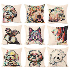 Cartoon Cotton linen Pillow Case Cute Dog Sofa Car Cushion Cover Square Office