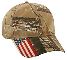 New Real Tree Xtra Camo CWF305 Outdoor Cap Hat American Flag