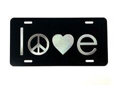 Love Peace Logo Car Tag Diamond Etched on Black Aluminum License Plate