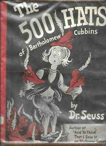 500 Hats of Bartholomew Cubbins DR.SEUSS HARDCOVER EARLY PRINT 1938 WITH DJ