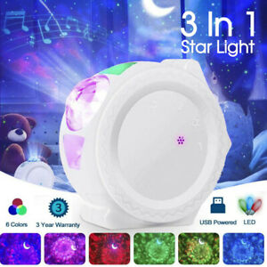 3In1 LED Galaxy Starry Night Light Projector 3D Ocean Star Sky Party Lamp Gift