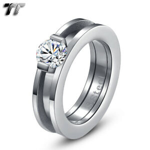 TT 6mm Stainless Steel 1.25 Carat Engagment Band Ring Separate for Two(R235)