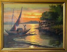 20th c. Filipino PAINTING Manila Fishing Boat 1963  PHILIPPINES Signed Estaño
