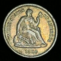 1860 O Seated Liberty Half Dime 5C XF AU High Grade War US Silver Coin CC2283