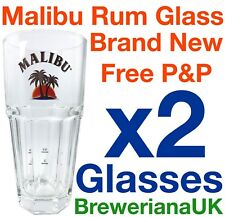Set Of 2 Malibu 37cl Glasses Brand New 100% Genuine Official 2+4cl Measure Lines