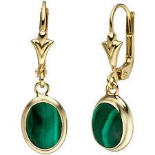 Damen Ohrhänger oval 585 Gold Gelbgold 2 Malachite grün Ohrringe Goldohrringe
