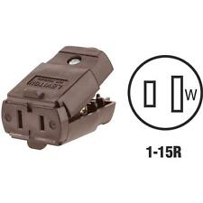 100 Pk Leviton Brown 2-Wire 2-Pole Hinged Electric Cord Plug Connector 015-102-P