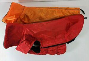 2 PCS Dog Jacket. Wind & Water-resistant, Easy Put-On - Size L - Red, Orange