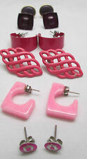 Vintage Pierced Earrings Lot of 6 Pairs Hot Pink & Purple Hoop Metal Plastic
