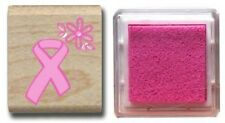 PINK RIBBON BREAST CANCER Awareness wood mounted RUBBER STAMP! for hope NEW +ink