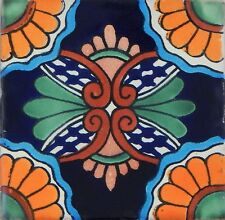 "Handmade Mexican Tile Sample  Talavera Clay 4"" x 4"" Tile C190"