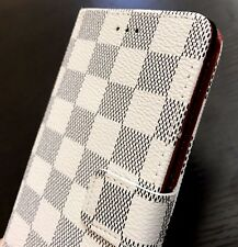 Samsung Galaxy Note 8 - Card Wallet Diary Pouch Case Cover White Checker Plaid