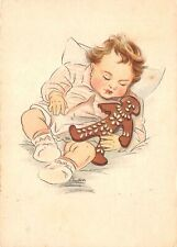 Lot228 baby sleeping with gingerbread doll artist signed postcard germany cake