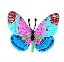 Butterfly - Blue/Pink Red Dots - Iron on Applique/Embroidered Patch