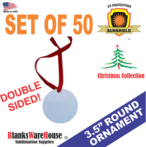 """3.5."""" round, CHRISTMAS ORNAMENT-  DOUBLE SIDED, SUBLIMATION BLANKS - 50 Pieces*"""