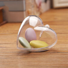 1pc Plastic Transparent heart Shape Wedding birthday party Candy Box Decor Rx EO