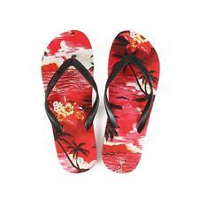 Hawaiian Inspired Print Women Summer Palm Tree Flip Flop Sandals in Sunset Red