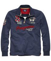 Sale%La Martina - Herren Poloshirt Langarm - Blau -T-Shirt Poloshirt Hemd-Size:M
