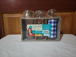 Ree Drummond The Pioneer Woman GLASS BOTTLE TRIO in a Wooden Crate NEW