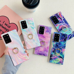 Case For Samsung S21 Note 20 Ultra S20 A71 A21S Marble Silicone Ring Stand Cover