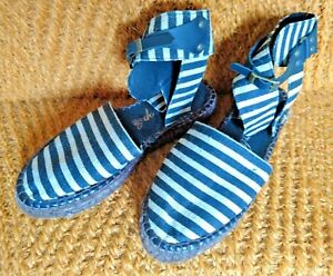 RARE Free People black and white pinstripe espadrilles with ankle strap 6