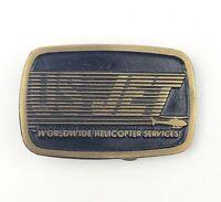 US Jet Worldwide Helicopter Services Brass Belt Buckle Rare Antique Aviation