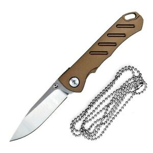 Drop Point Folding Knife Pocket Hunting Survival Wild Tactical D2 Blade Necklace