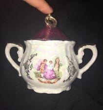 Vintage 1970 Lustreware Victorian Courting Couple Sugar Pot porcelain Tea Set