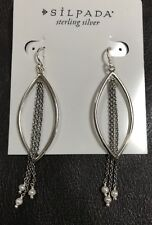 "Silpada NEW Sterling Silver ""Allure"" Earrings Dangling Chain Pearls W3510"