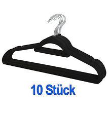 10 x Kleiderbügel Samt Anti-Rutsch Kleiderhaken Hemden- Garderobenbügel schwarz