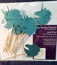 12x Teal Unicorn Cupcake Toppers, Decoration, Birthday, Party, Christening.
