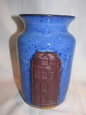 """Blue Clay Pottery Vase - Signed Dean '93 - 7"""" Tall - Handcrafted"""