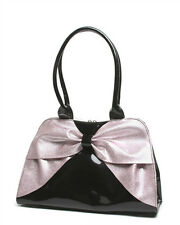 Lux De Ville Lady Lux Kiss Lock Bow Bag Black and Baby Pink Sparkle Retro