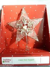 Capiz (Glass Oyster) Tree Topper with Silver Tone Filigree Wire and Faux Pearls