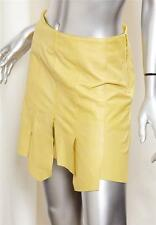 HENRY BEGUELIN Womens Canary Yellow Soft Leather Above Knee Short Skirt 40/4