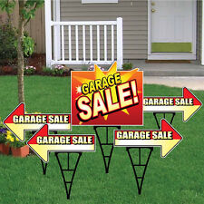 Garage Sale Sign Set with Arrows and Main Sign - Package of 5 Deluxe Yard Signs