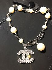 NIB New CHANEL CC Faux Pearl Beads Pave Strass Swarovski Clear Crystals Bracelet