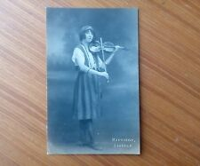 Vintage* Gypsy Lady with Violin and Bow. Harrison, Lincoln Real Photo. .',.