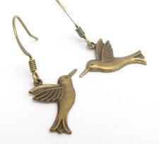 Bird Earrings Dainty Dangle Drop Antiqued Brass Fun Costume Jewelry Gift for Her