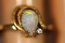 DESIGNER CH 14K SOLID YELLOW GOLD AUSTRALIAN FIRE OPAL DIAMOND RING 14KT 7.5