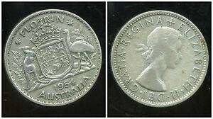 AUSTRALIE AUSTRALIA   1 florin 1954     ARGENT  SILVER    ANM